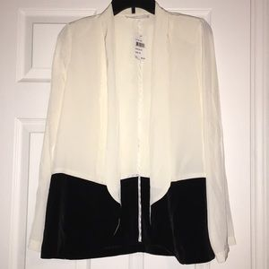 Ivory/Black silk blazer by Lush
